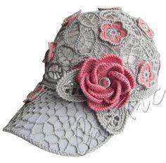 """""""WILD ROSE"""" (lace cap, peaked cap, women's baseball cap crochet, crochet cap, irish lace)"""
