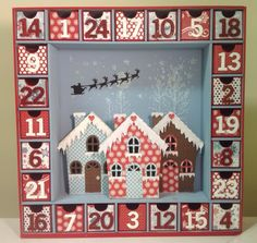 Kaisercraft advent calendar, poppystamps cute cottage and frosted roof, carta bella bundled up paper pad.