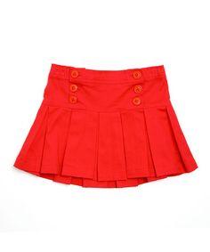 Look what I found on #zulily! Red Button Pleated Skirt - Toddler & Girls #zulilyfinds