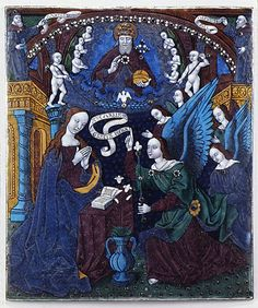 The Annunciation in Gallery 544 is positioned in the center of a panel series. I love the blues in these Limoges painted enamels.