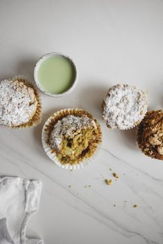 Matcha, White Chocolate and Pear Muffins with Almond Streusel