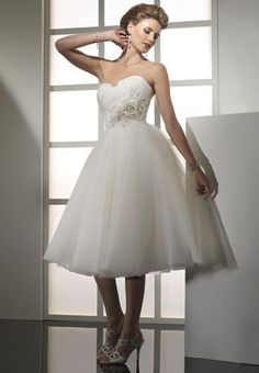 Organza and Tulle Strapless Empire Ball Gown Simple Wedding Dress