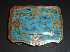 Antique Italian Sterling Silver and Enamel Compact Box Marblized Design |