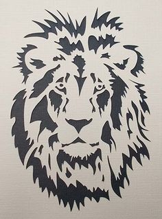 Pochoir Lion par kraftkutz sur Etsy Plus Tiger Stencil, Animal Stencil, Stencils, Stencil Art, Stencil Patterns, Stencil Designs, Kirigami, Doodle Drawing, Scroll Saw Patterns