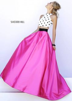 SHERRI HILL Prom Dresses 2015 # 32210 This fun, full length two piece features a crop top of polka dots and a fuchsia ball gown skirt with fitted black waistband to break up the look.