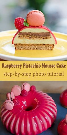 Full step-by-step tutorial to a beautiful Raspberry Pistachio entremet (multi layer mousse cake) using a Silikomart mold. Delicious and fancy! Layered Desserts, Fancy Desserts, Fancy Cakes, Mini Cakes, Just Desserts, Cupcake Cakes, Gourmet Desserts, Cupcake Ideas, Plated Desserts
