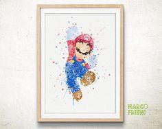 Super Mario Bros Watercolor Art Print affiche par MarcoFriend