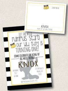 Where the Wild Things Are themed printable invitation and matching thank you…