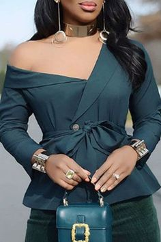 Plain Lace-Up Long Sleeves Standard Blouse – Beauty Coupons Elegant Dresses Classy, Classy Dress, Jean Dress Outfits, Casual Outfits, Casual Tops For Women, Blouses For Women, Ladies Tops, Latest African Fashion Dresses, Lace Up