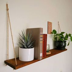 Hanging rope shelves, apartment ready shelves and home decor Hanging shelves add a unique vibe to an Suspended Shelves, Hanging Rope Shelves, Floating Shelves, Hanging Plant, Pallet Shelves, Wood Shelves, Large Shelves, Storage Shelves, Shelves In Bedroom