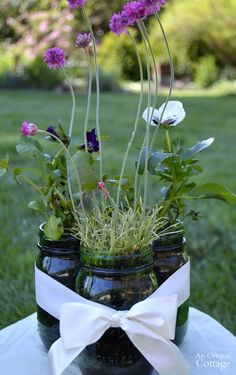 Easy mason jar-ribbon centerpiece filled with live plants Outdoor Table Centerpieces, Plant Centerpieces, Wedding Centerpieces, Centerpiece Flowers, Mason Jar Flower Arrangements, Sunflower Arrangements, Mason Jar Flowers, Plant Table, Flower Garden Design