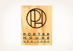 logo by Louise Fili Ltd.  Porter House, an elegant steak house in New York's Time Warner Center, has sweeping views of Central Park and a logo reminiscent of a cattle brand, which is stamped on all the menus.