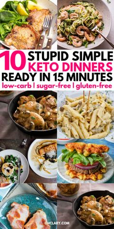 10+ Best Quick Keto Dinner Recipes and Easy Meals Your Whole Family Will Love! These Chicken, beef, pork and turkey recipes are INSANELY DELICIOUS and perfect as a simple low carb dinner. All of these recipes are ready in 15 minutes or less so you can spend more time doing things you actually want to! Low Carb Dinner Recipes, Keto Dinner, Diet Recipes, Healthy Recipes, Dinner Healthy, Quick Recipes, Recipes For Diabetics Easy, Low Carb Quick Dinner, Popular Recipes