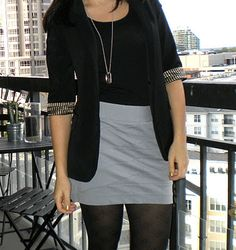Easy skirt with blazer and tights.