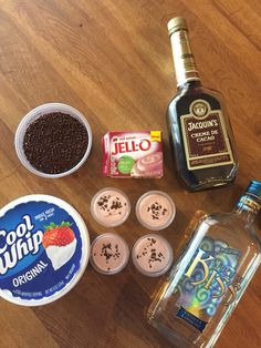 Red Velvet pudding shots! 3/4 cup chocolate liquor, 1/4 cup vanilla liquor, 1 cup milk, 8 oz cool whip slightly thawed, & 1 small box instant Red Velvet pudding. Combine pudding & liquids, then stir in cool whip. Pour into party cups top with sprinkles & freeze!