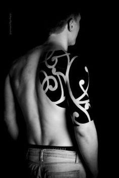 Ethnic Tracery Loops Shoulder Blackwork tattoo