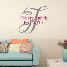 Family Est.   Monogram Name Decal Monogram Wall Decals, Cleaning Walls, Single Sheets, Initial Letters, Initials, Names, Colours, Lettering, Type