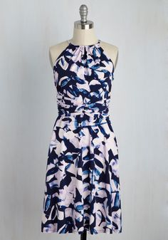 Get Twilit Dress. Come dusk, youre ready to turn your style up to eleven with this abstract floral dress! #blue #modcloth