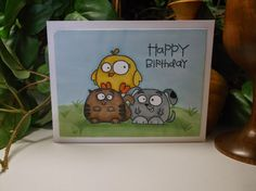 Rachel's Card Corner: Coloring Fun! - Birthday Card - Paper Smooches - Birthday Buddies, Chubby Chums
