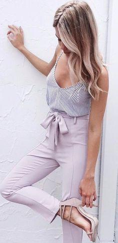 summer interview attire / stripped tank nude tone pants- Tap the link now to see our super collection of accessories made just for you! Fashion Mode, Work Fashion, Fashion Outfits, Fashion 2018, Ladies Fashion, Fashion Trends, Fashion Photo, Womens Fashion, Fashion Tips