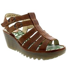 Womens Fly London Ygor Rug Wedge Beach Gladiator Vacation Heeled Sandals - Camel…