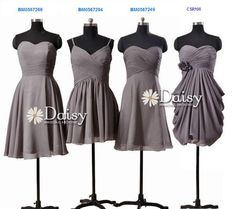 Mismatched Chiffon Bridesmaid Dress,Short Gray Wedding Party Dress,Mix Match Grey Bridesmaid Dresses,Short Formal Dress Gray,Women Dresses on Etsy, $79.00