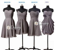 Mismatched Chiffon Bridesmaid Dress,Short Gray Wedding Party Dress,Mix Match Grey Bridesmaid Dresses,Short Formal Dress Gray,Women Dresses on Etsy, $79.00