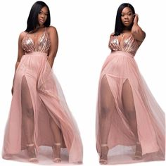2017 fashion Women Spring Sexy mesh Maxi Dress Elegant Backless Party dress sequined deep v neck pink Long Dresses vestido mujer