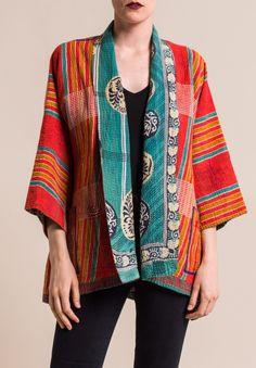 Mieko Mintz Vintage Cotton Kimono Jacket in Orange/Teal Silk Jacket, Kimono Jacket, Kimono Style, Cotton Kimono, Silk Kimono, Outer Batik, Batik Blazer, Batik Fashion, Hippy Chic