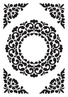 Matrita pentru embosare 15 x 10 cm - Vintasia - Ornament Frame Mandala Stencils, Stencil Patterns, Stencil Designs, Pattern Art, Paint Designs, 3d Cnc, Mandala Drawing, Pattern Illustration, Magazine Design