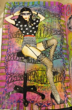 Artist: Dyan Reaveley ~ October 28, 2011 ... I love how she used an image of a pinup girl wearing all black & the artist used pens & her creative genius to make it appear that the pinup is wearing prints!  ♥