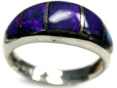 beautiful solid crystal opal inlay ring size 6.5