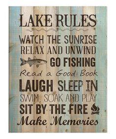 'Lake Rules' Wall Sign #zulily #zulilyfinds
