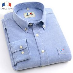 Langmeng brand. 100% cotton solid striped shirt men spring casual shirts oxford dress shirt camisa masculina white black. 20 Coulors