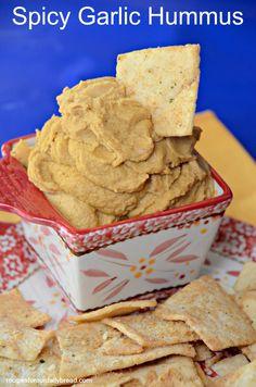 Garlic Spicy Hummus Say NO to bland Hummus! #hummus #dip #appetizer   www.recipesforourdailybread.com