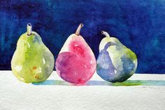 """""""Pears"""", watercolor, Axie Frey http://www.axiefrey.com/glry2/gallery21.html"""