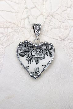 Broken China Jewelry Heart Pendant Black by Robinsnestcreation1
