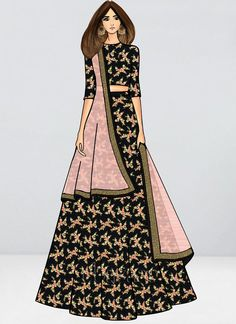 Bollywood Vogue Customised Black Lengha Set