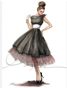 A nice example of how to color a black dress illustration.