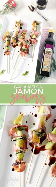 Galia Melon Jamón Skewers make a perfect summer app! This dairy free, gluten free and paleo-friendly Whole30 appetizer is a delicious start for any party. #ad #Whole30