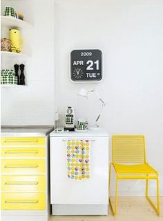 yellow office space in kitchen
