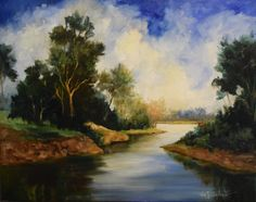 Landscape Painting Trees Water Sky Peaceful by OilPaintingsByCheri