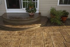 New Curved Patio Steps Sidewalks Ideas Concrete Front Steps, Concrete Porch, Stamped Concrete Patios, Concrete Patio Designs, Patio Steps, Back Patio, Backyard Patio, Backyard Ideas, Pavers Patio