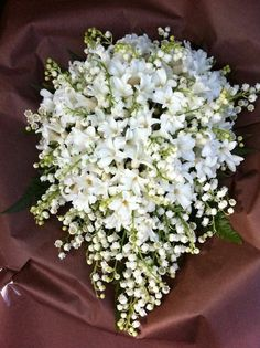 Very Pretty Teardrop Wedding Bouquet Comprised Of: White Hyacinth + White Lily Of The Valley