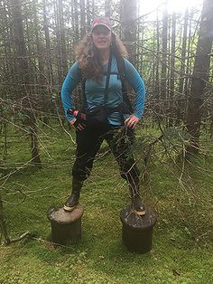 Heather standing on old mooring posts that are now ¼ mile from the river.