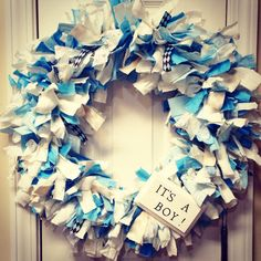 It's A Boy Announcement Wreath Ribbon and fabric by tiffbrooke26