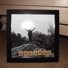 Scrabble art framed photo Breathe 8' by 8'