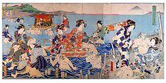 「E・バヤール」が参考にしたと思われる豊原国周の「大井川徒行渡図」万延元年(1860)大判3枚