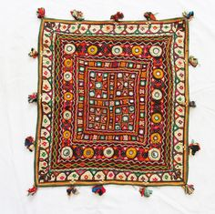 ***  INDIAN ETHNIC VINTAGE EMBROIDERED BANJARA WORK THROW WALL HANGING  -  $42.00  MINE!!!