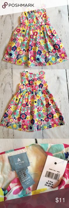 NWT Girls 3T Gap Floral Dress Pink Blue Yellow Brand new!!  This is a cute summer floral dress from babyGap!  The dress is lined and buttons in the back.  Smoke free home.  Fast ship.  Bundle for savings! babyGap Dresses Casual